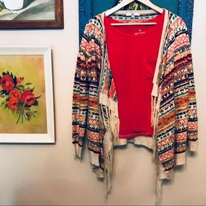 Open Front Multi Color Fridge Cardigan